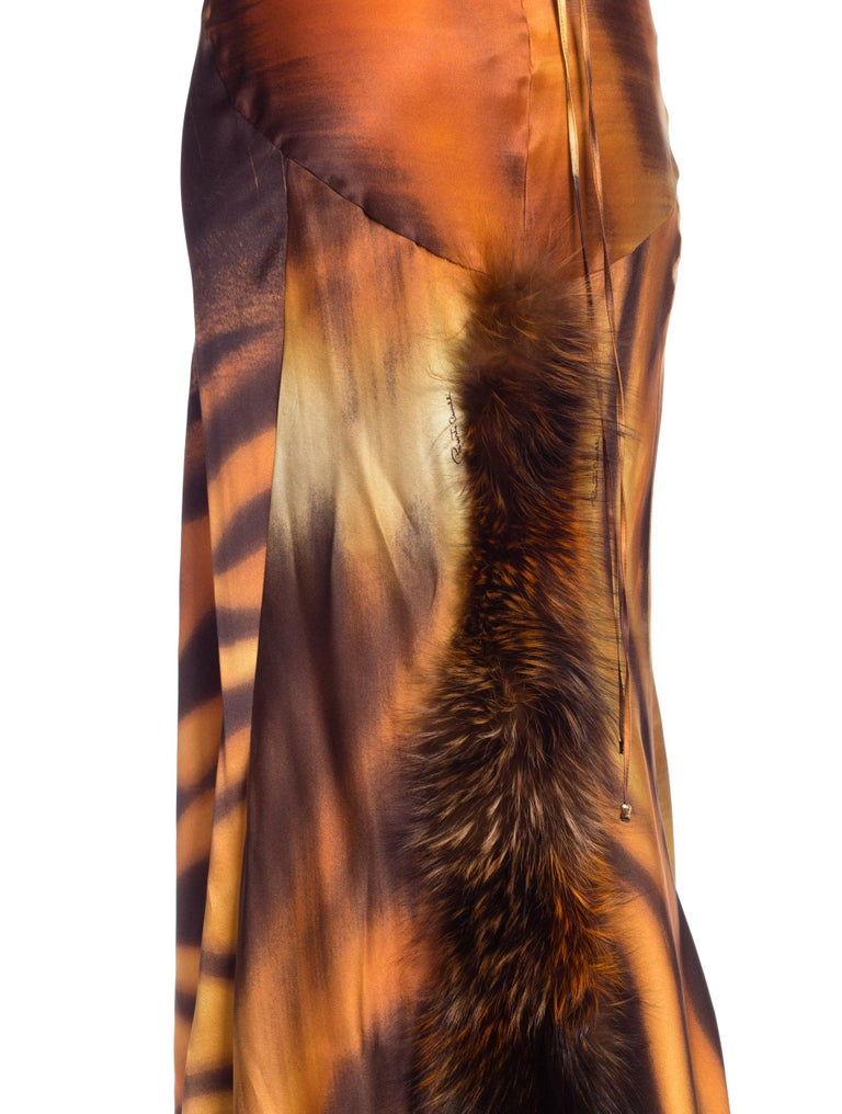 Roberto Cavalli Bias Cut Silk Gown Tiger with Fox Fur Tail NWT 13