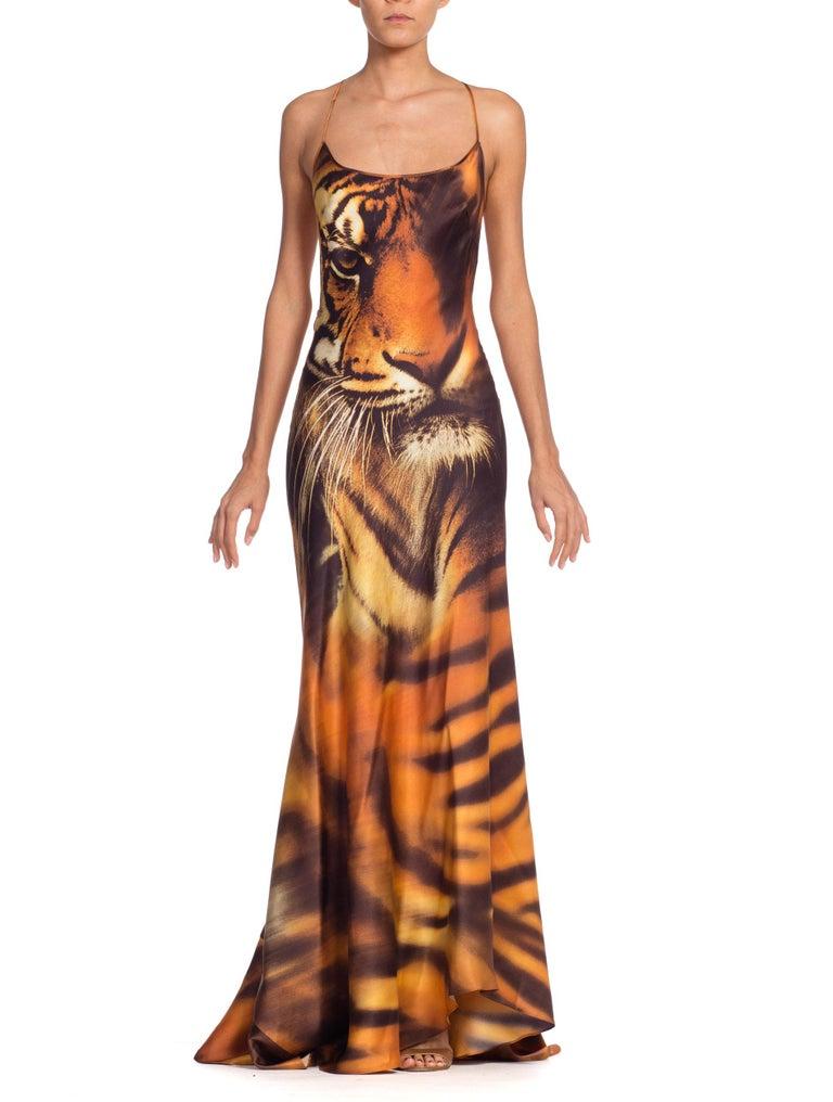 Roberto Cavalli Bias Cut Silk Gown Tiger with Fox Fur Tail NWT 15
