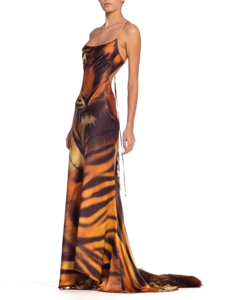 Brown Roberto Cavalli Bias Cut Silk Gown Tiger with Fox Fur Tail NWT