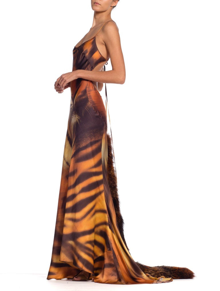 Roberto Cavalli Bias Cut Silk Gown Tiger with Fox Fur Tail NWT In New Condition In New York, NY