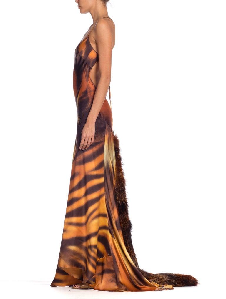 Women's Roberto Cavalli Bias Cut Silk Gown Tiger with Fox Fur Tail NWT