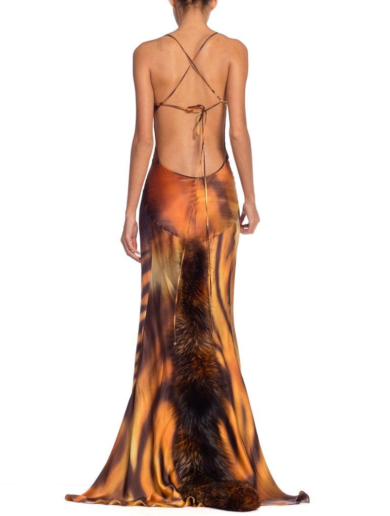 Roberto Cavalli Bias Cut Silk Gown Tiger with Fox Fur Tail NWT 2