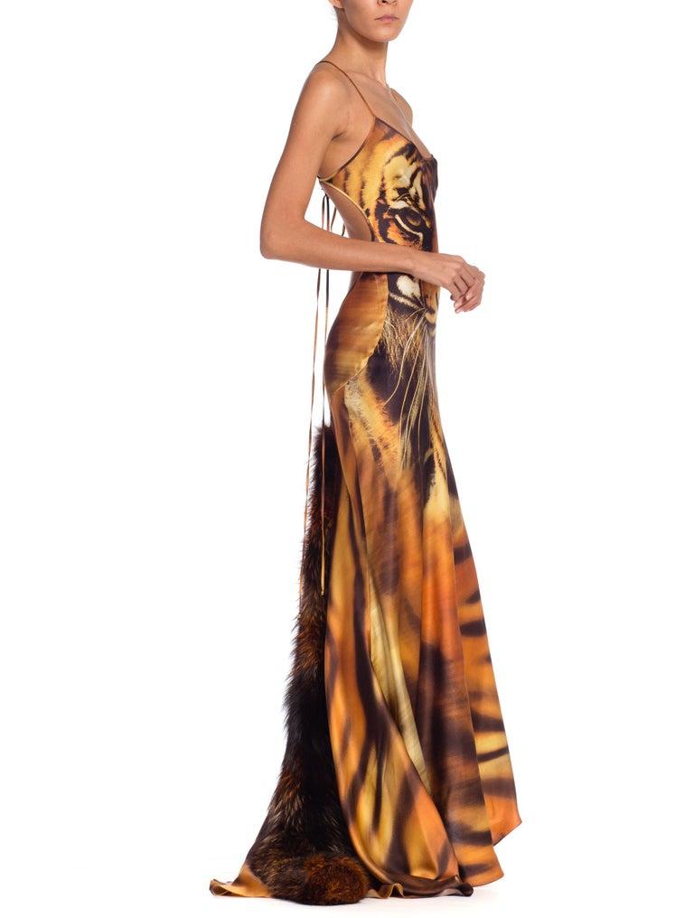 Roberto Cavalli Bias Cut Silk Gown Tiger with Fox Fur Tail NWT 4