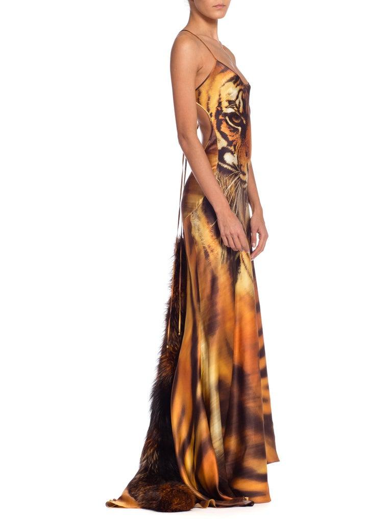 Roberto Cavalli Bias Cut Silk Gown Tiger with Fox Fur Tail NWT 5
