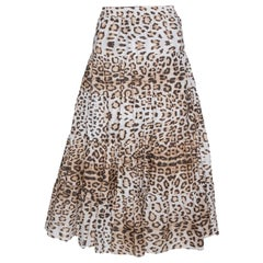 Roberto Cavalli Bicolor Leopard Print Cotton Tiered Midi Skirt M