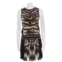 Roberto Cavalli Black and Brown Animal Printed Silk Pleated Sleeveless Dress S