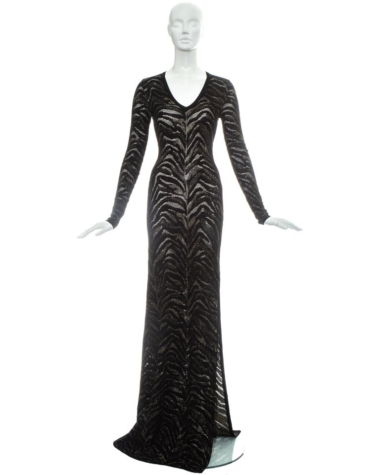 Roberto Cavalli black and gold lurex knitted evening dress with zebra print effect.   c. 2000