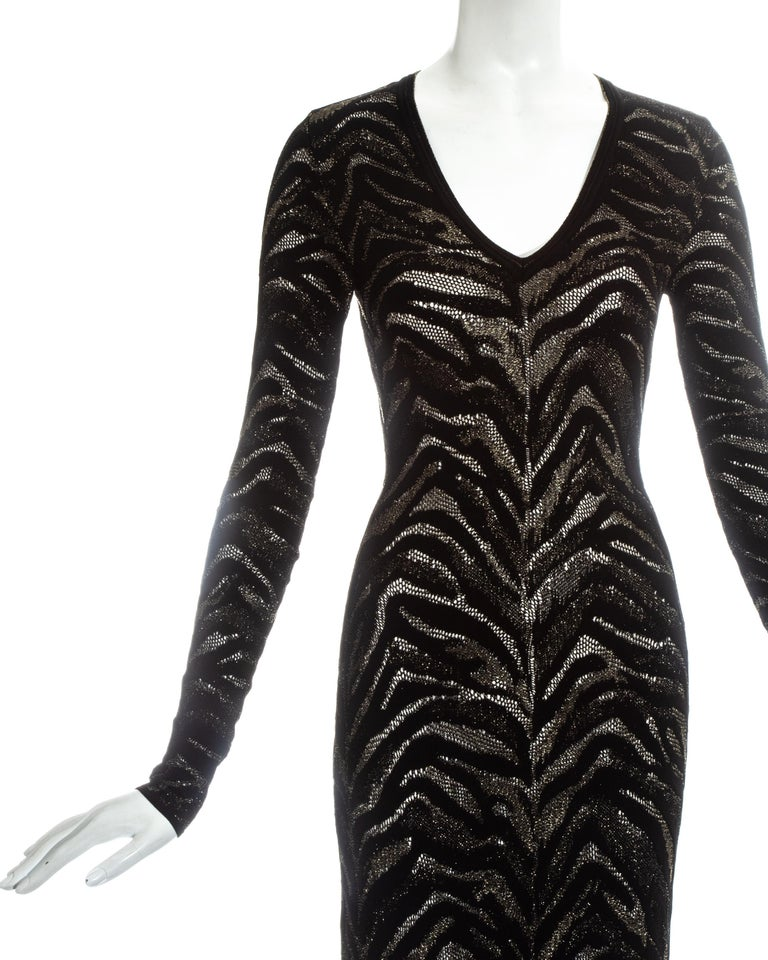 Black Roberto Cavalli black and gold lurex knitted evening dress, c. 2000 For Sale