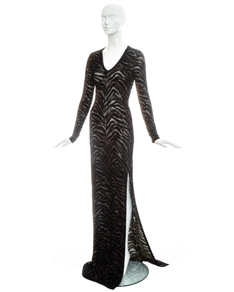 Roberto Cavalli black and gold lurex knitted evening dress, c. 2000 In Excellent Condition For Sale In London, GB