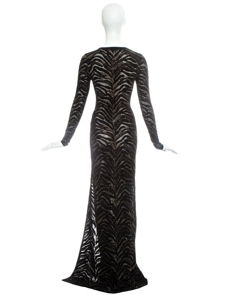 Women's Roberto Cavalli black and gold lurex knitted evening dress, c. 2000 For Sale