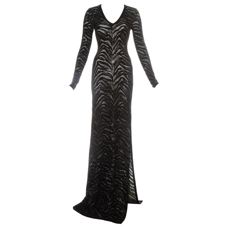 Roberto Cavalli black and gold lurex knitted evening dress, c. 2000 For Sale