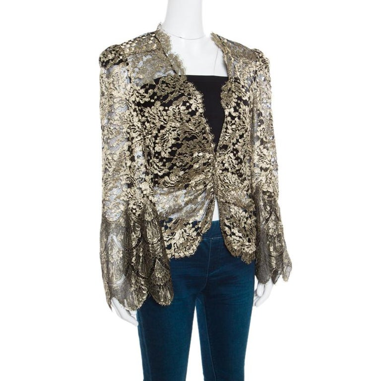 Gray Roberto Cavalli Black and Gold Scalloped Trim Detail Floral Lace Jacket S For Sale