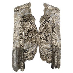 Roberto Cavalli Black and Gold Scalloped Trim Detail Floral Lace Jacket S