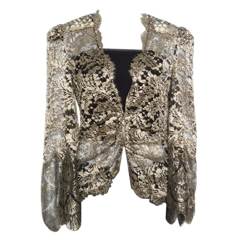 Roberto Cavalli Black and Gold Scalloped Trim Detail Floral Lace Jacket S For Sale