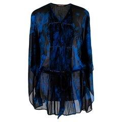 Roberto Cavalli Black & Blue Sheer Floral Pattern Top - Size Estimated XS