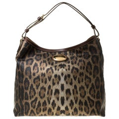 Roberto Cavalli Black/Brown Leopard Print Coated Canvas and Leather Hobo
