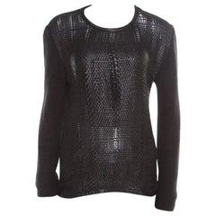 Roberto Cavalli Black Cashmere and Leather Interwoven Crew Neck Sweater M