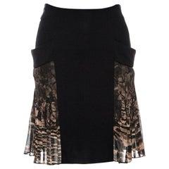 Roberto Cavalli Black Crepe Pleated Print Panel Detail Skirt S