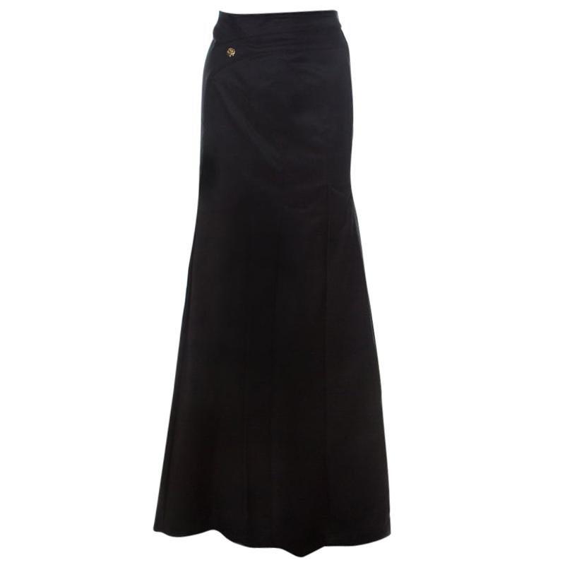 Roberto Cavalli Black Denim Pleated Maxi Skirt S
