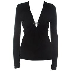Roberto Cavalli Black Draped Jersey Brooch Neckline Detail Top M