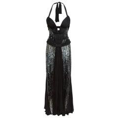 Roberto Cavalli Black Embellished Halter Gown