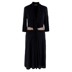 Roberto Cavalli Black Fitted Dress with Embellished Waist - Size US 6