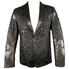 ROBERTO CAVALLI Black Floral Embroidered Leather Shawl Collar Sport Coat