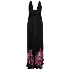 Roberto Cavalli Black Floral Printed Jersey Bead Embellished Maxi Dress M