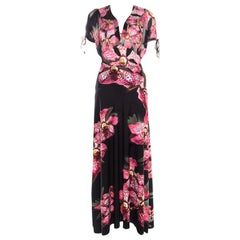 Roberto Cavalli Black Floral Printed Stretch Knit Top and Maxi Skirt Set M