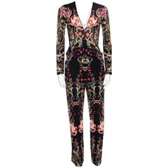 Roberto Cavalli Black Galaxy Garden Printed Long Sleeve Jumpsuit S