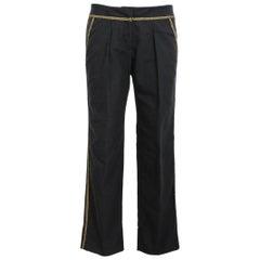 Roberto Cavalli Black Gold Cotton Capri Trousers 2000s
