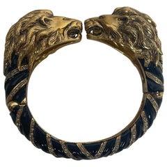 Roberto Cavalli Black & Gold Lion Head Bangle Bracelet