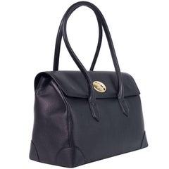 Roberto Cavalli Black Grained Leather Double Compartment Shoulder Bag