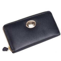 Roberto Cavalli Black Grained Leather Zip around Continental Wallet