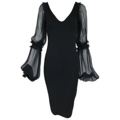 Roberto Cavalli Black Jersey Dress with Black Chiffon Sleeves