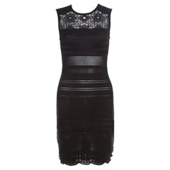 Roberto Cavalli Black Knit Lace Insert Sleeveless Fitted Dress S