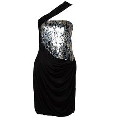 Roberto Cavalli Black Knit Sequined & Draped One Shoulder Dress M