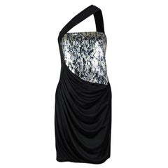 Roberto Cavalli Black Knit Sequinned Panel Detail One Shoulder Draped Dress M