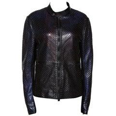 Roberto Cavalli Black Laser Cut Leather Jacket L