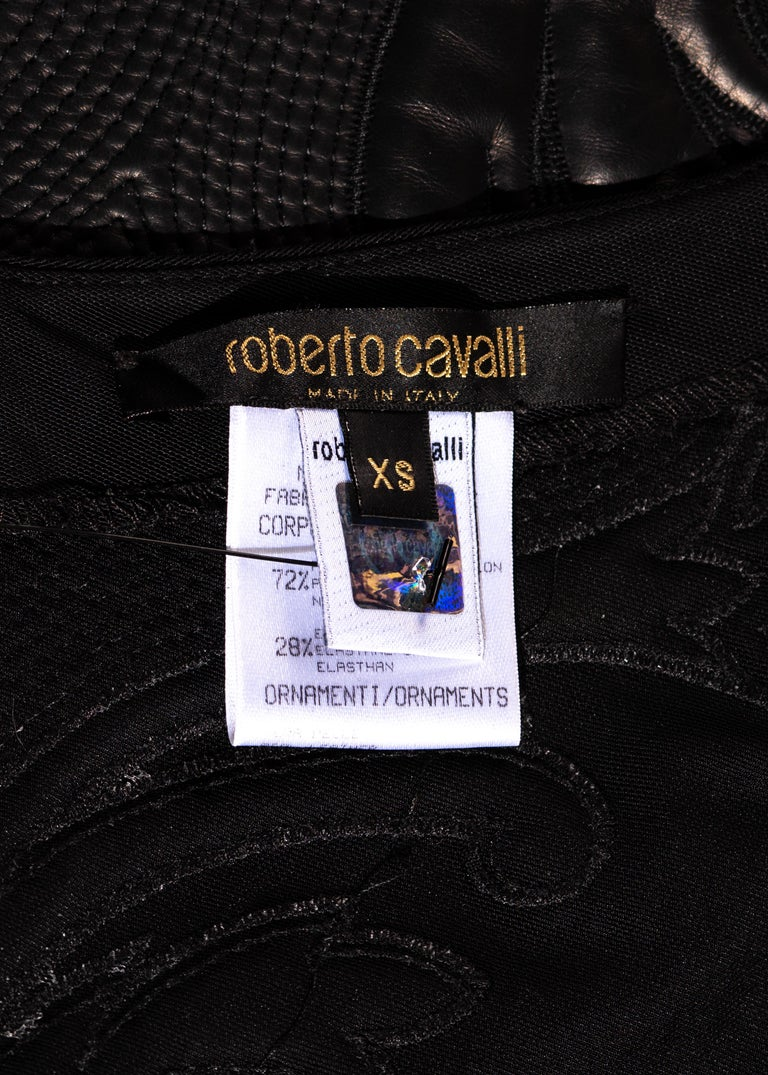 Roberto Cavalli black leather and nylon mesh low back evening dress, fw 2002 For Sale 5