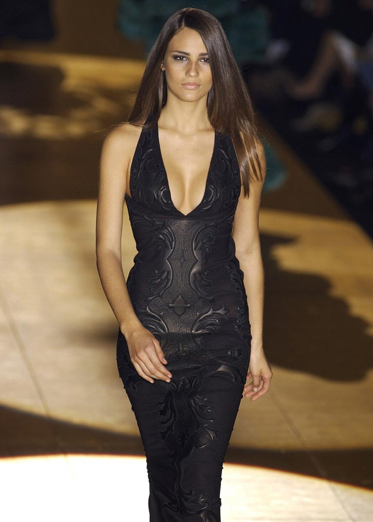 Roberto Cavalli black leather and nylon mesh low back evening dress, fw 2002 In Excellent Condition For Sale In London, GB
