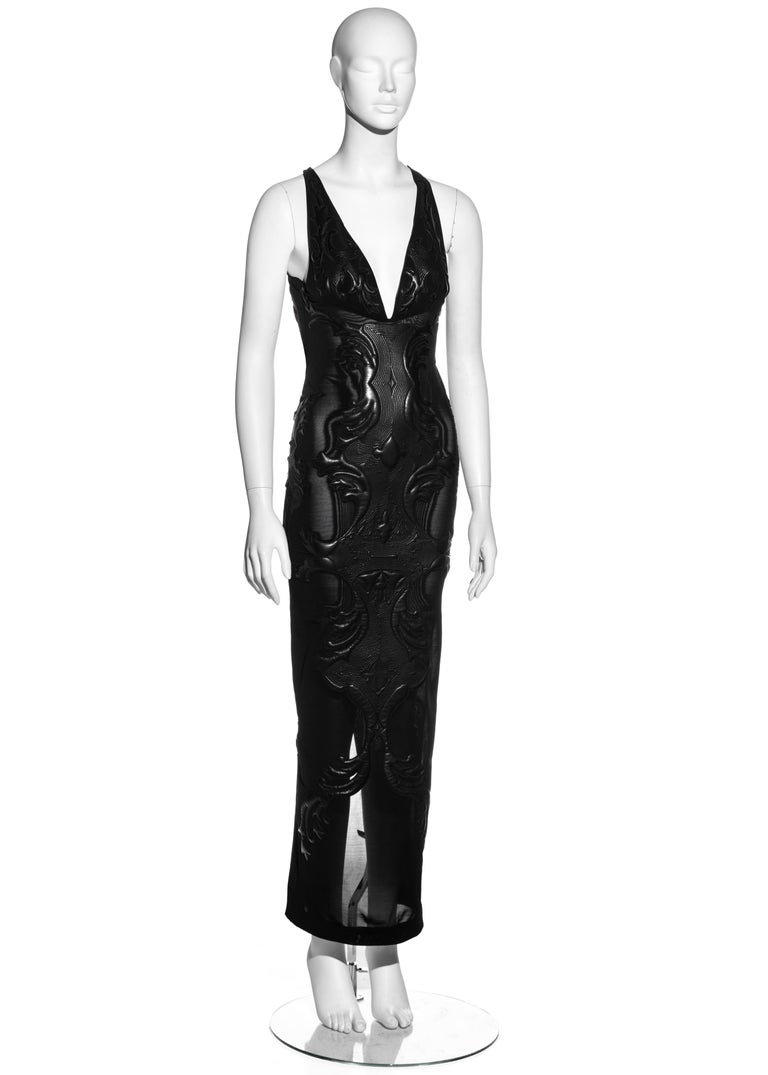 Women's Roberto Cavalli black leather and nylon mesh low back evening dress, fw 2002 For Sale