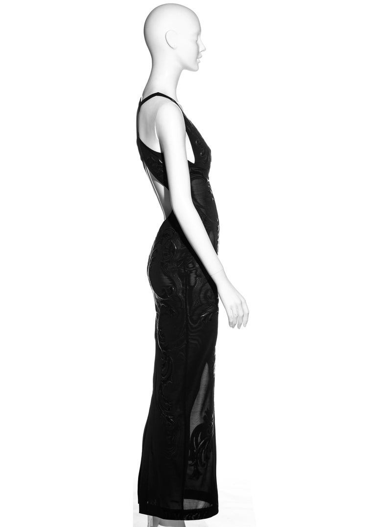 Roberto Cavalli black leather and nylon mesh low back evening dress, fw 2002 For Sale 1
