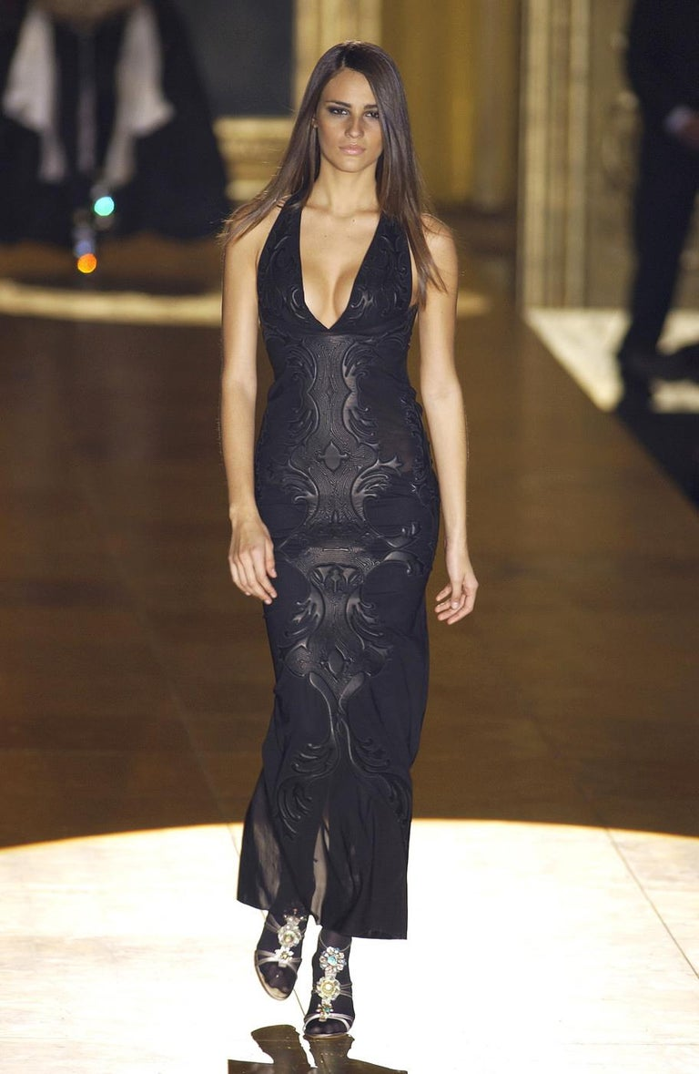 Roberto Cavalli black leather and nylon mesh low back evening dress, fw 2002 For Sale 4