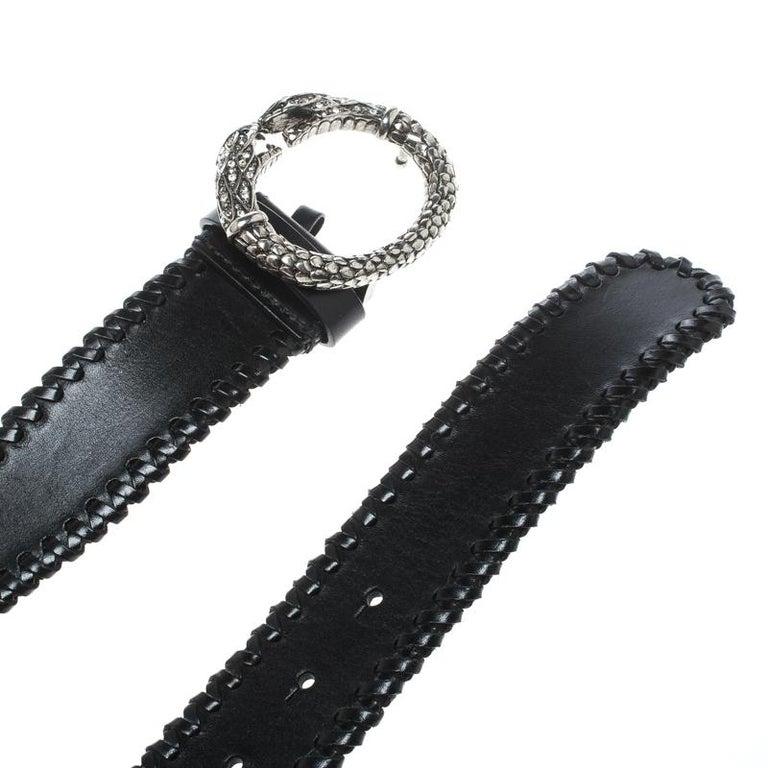 Roberto Cavalli Black Leather Braided Serpent Buckle Belt 85cm For Sale 1