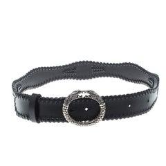 Roberto Cavalli Black Leather Braided Serpent Buckle Belt 85cm