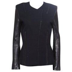 Roberto Cavalli Black Leather Sleeve Detail Wool and Cashmere Jacket S