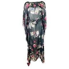 Roberto Cavalli Black Multi Colored Silk Cover Up Dress, Size 36