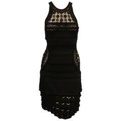 Roberto Cavalli Black Open Crochet Sleeveless Dress