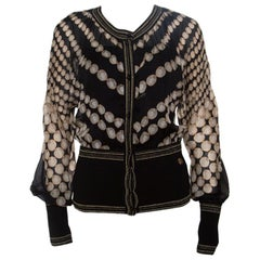 Roberto Cavalli Black Pearl Printed Rib Trim Sheer Blouson Top M